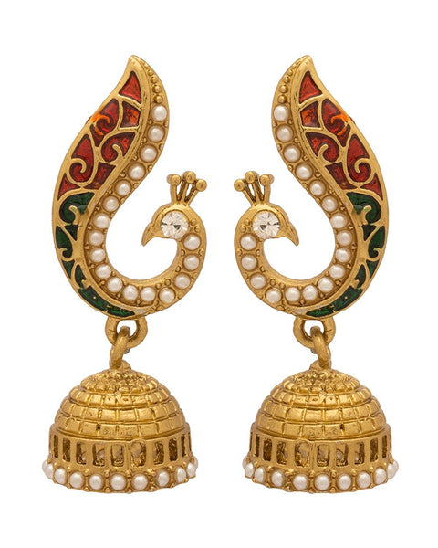 Peacock Inspired Designer Jhumki Gold Plated Big Earrings For Women