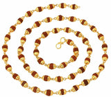 Gold Plated Unisex Rudraksh Chain/Mala (28 Cms)