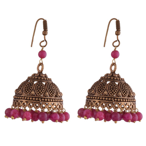 Designer Jewellery Pink Metal Jhumki Earring For Women