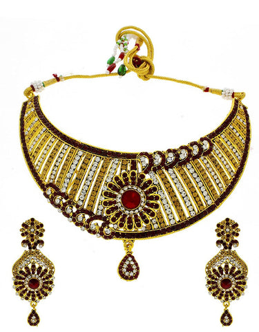 Designer Golden Colour Styled With Maroon Colour Dazzling Flower Styled Traditional Necklace Set For Women