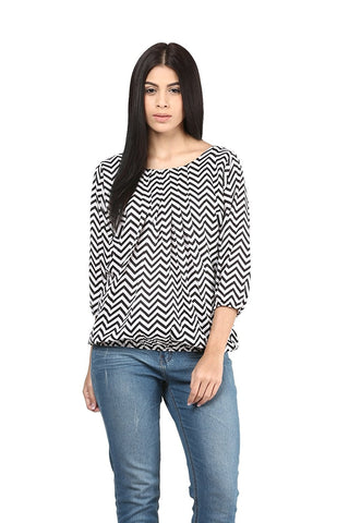White & Black Polyster Top With Zigzag Pattern Ladyindia90