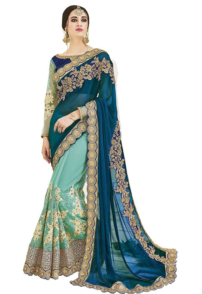 f7686f9357 Shop Online Wedding Royal Looking Blue and Sky Blue Color Georgette and Net  Fancy – Lady India