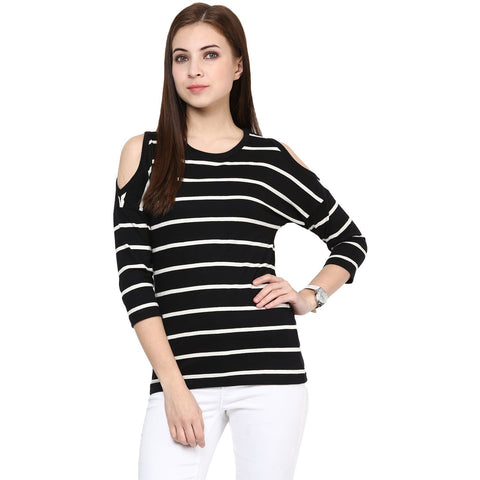 Black and White Stripe Round Neck Cotton T-shirt For Women Designer Top For Women