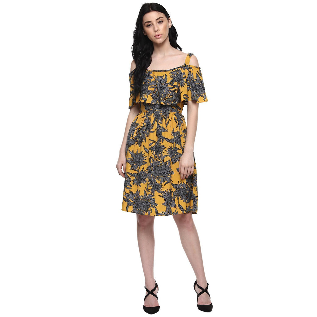 99b237fb66fb Buy Online Multi-Color Off Shoulder Dress Floral Pattern Midi Dress in  India at Best Prices – Lady India