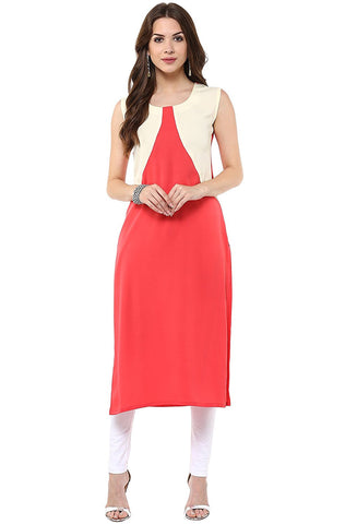 Latest Women's Pink Casual Crepe Kurti
