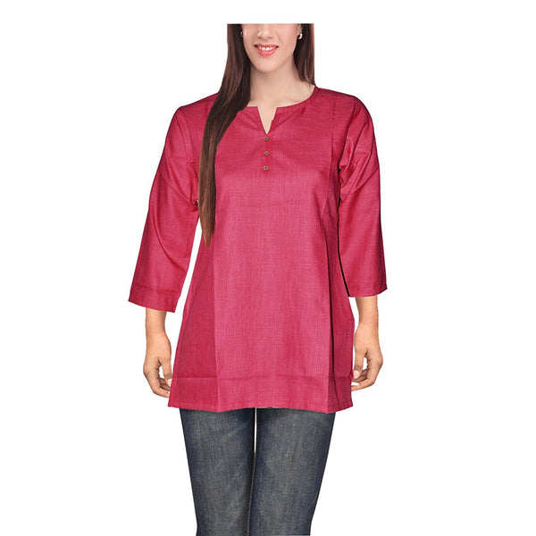 Plain Red Color Short Kurtis For Girl K7