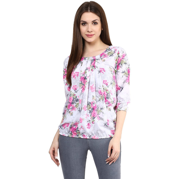 Pink & White Georgette Printed Tops For Girls With Floral Print Ladyindia67