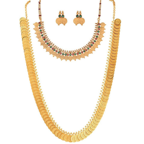 Gold Plated Jewellery Long Traditional Maharani Coin Necklace Set With Earrings