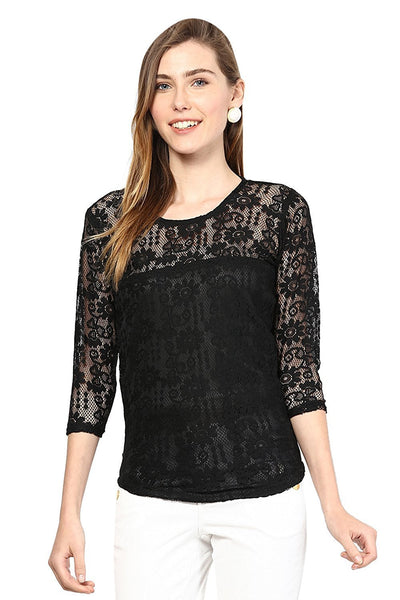 Partywear Tops Black Color Stylish Net Top With Floral Design Ladyindia79