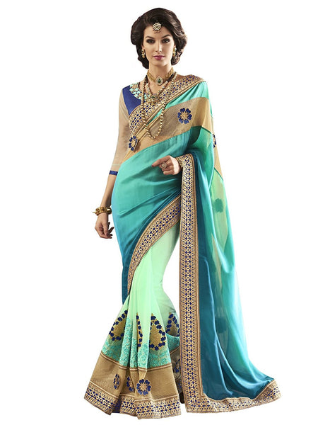Designer Poly Satin Net Blue Zari Embroidery ,Sequins, Border Party Wear Net Saree Embroidered Saree