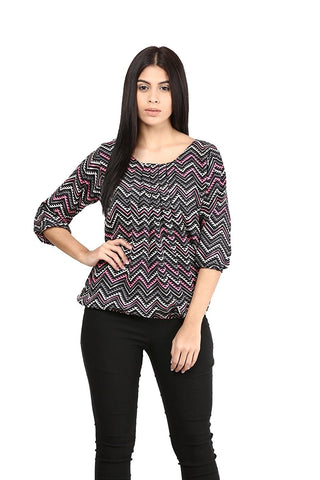 Multicolor Tops For Women Polycrepe Printed Tops With Zigzag Pattern Ladyindia68