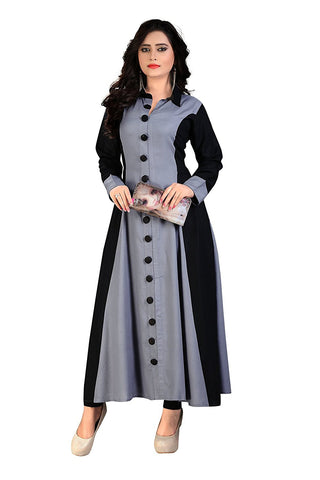 Latest Designer Princess Cut Kurti. Black & Grey Rayon Partywear Kurti With Handcrafted Buttons Full Sleeve & Size