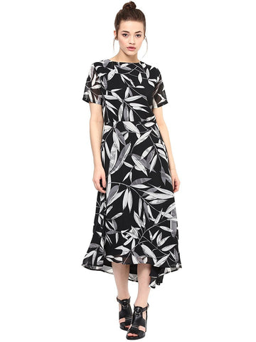 Latest Casual Black Leaf Print Georgette Midi Dress For Women
