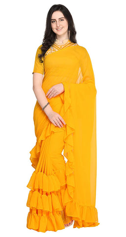Women's Georgette Plain Yellow Ruffle Saree