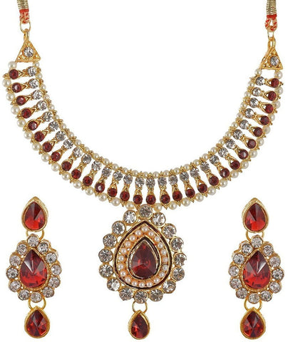 Designer Jewellery Gold Plated Non-Precious Metal Necklace Set With Maang Tikka For Women