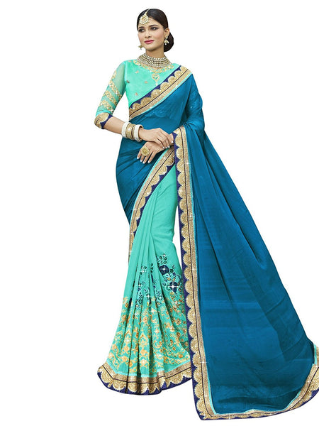 Designer Green Faux Georgette Party Wear Wedding Saree With Zari Embroidery,Stone,Sequins,Patch Work,Border Saree