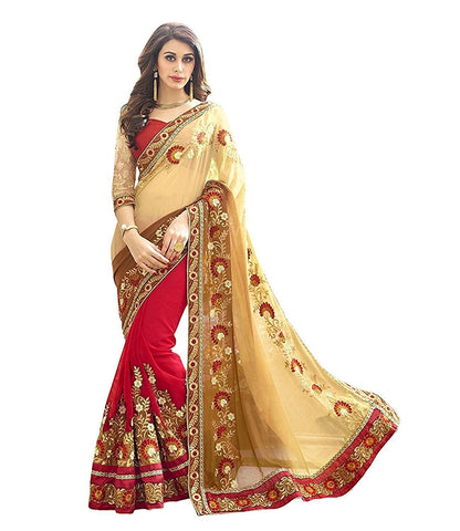 Partywear Red And Beige Georgette Half And Half Sarees Bridal Designer Sarees