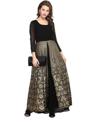 Black & Gold Kurta With Skirt Partywear Kurti Skirt Set For Women