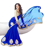 Designer White World Women's Georgette Saree Women's Clothing Saree For Women Latest Design Wear Saree Collection In Multi Color Latest Saree With Blouse Free Size Beautiful Saree For Women Party Wear Offer Saree With Blouse Piece.