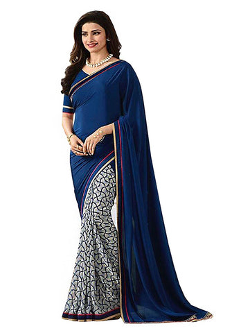 Blue Color Designer Printed Georgette Sarees  S012