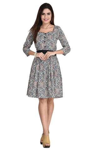 Shop Online Designer Multicolor Casual Wear Polyester Front Button Midi Dress