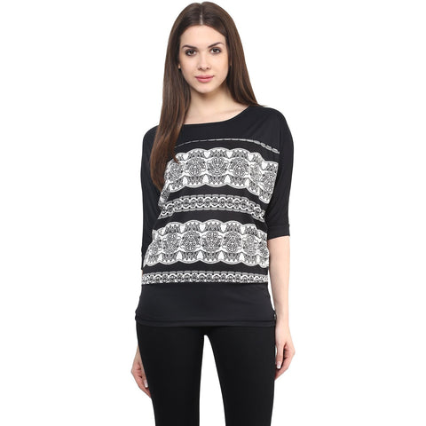 Designer Black & White Printed Top Viscose Top Latest Western Wear Fashion Trends