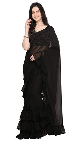 Women's Georgette Plain Black Ruffle Saree