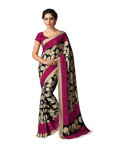 Pink Art Silk Sarees With Leaf Print Bhagalpuri Silk Sarees S017