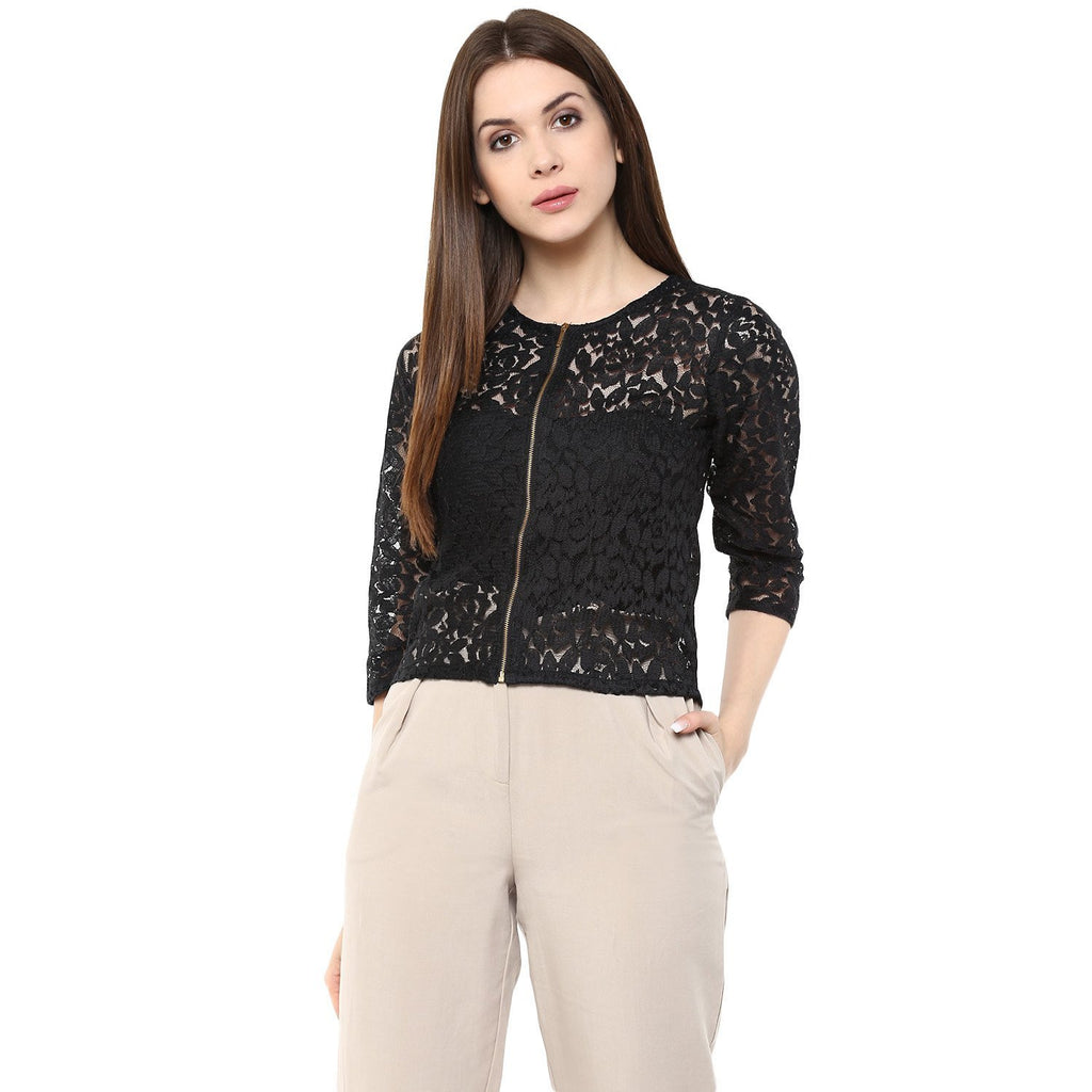 c73214e0a5a Buy Now Partywear Tops Black Color Net Top With Front Zip – Lady India