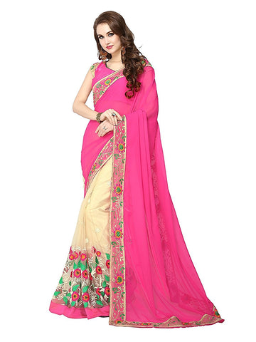 fs-25-diwali-special-pink-&-cream-color-partywear-machine-embroidery-border-work-sarees