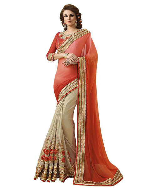 Designer Multicolour Faux Chiffon and Lycra Net Orange Embroidered Wedding Wear Net Saree With Blouse Piece