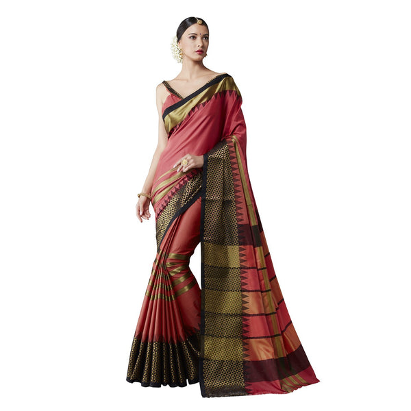 Festive Party Wear Sarees Women's Cotton Ready Pleated Saree Pink Colored Silk Saree