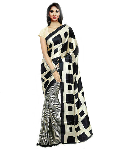 Partywear Crepe Sarees With Black Stripped & Square Design On Pallu