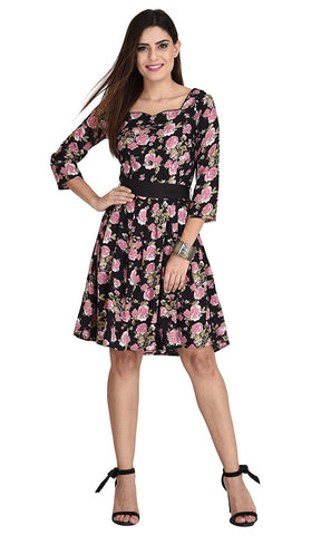 Designer Casual Polyester Multi Color Floral Print Midi Dress