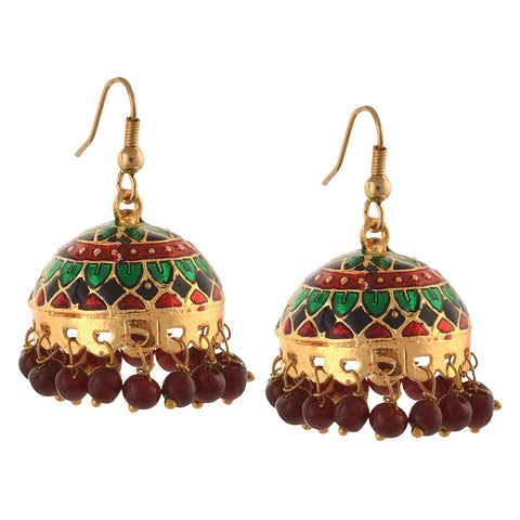 Designer Traditional Gold Tone Beaded Hook Jhumki Earrings For Women