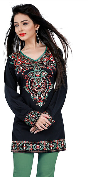 Designer V-neck Style Black Kurti Full Sleeves Printed Floral Work Short Kurti K3