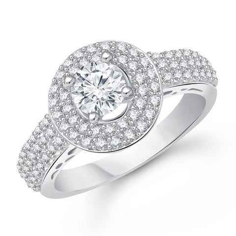 Designer Jewellery Royal Solitaire Rhodium Plated Ring For Girls