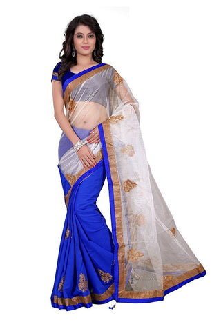 Designer Net Saree Women's Net & Chiffon Blue-Color Saree With Printed Blouse Piece