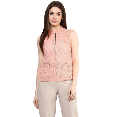 Partywear Tops Baby Pink Color Stylish Net Top With Front Zip Ladyindia73