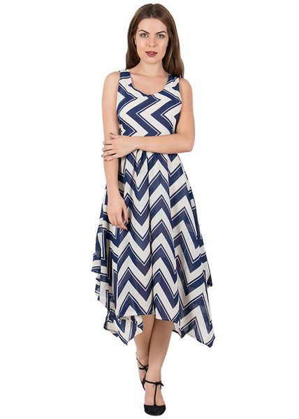 Latest Designer Navy Blue And White Polyester Sleeveless knee Length Maxi Dress