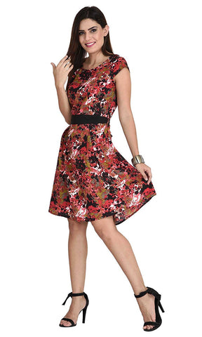 Designer Multicolor Casual Wear Polyester Floral Cap Sleeves Midi Dress For Girl
