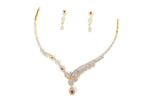 Designer American Diamond  Two Tone Rohdium Based Loose Neckless For Women