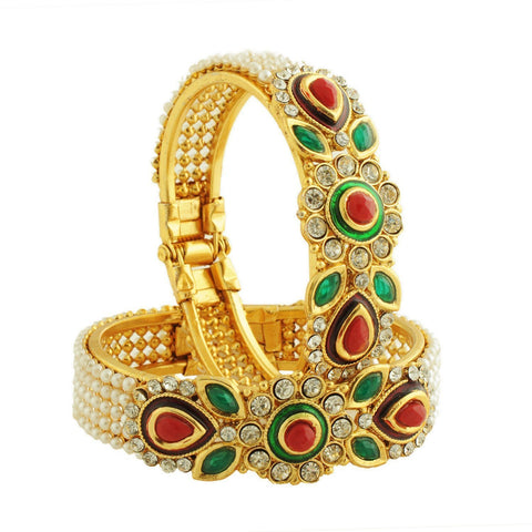 Designer Traditional Wedding Gold-Plated Bangles Bracelets Set For Women And Gilrs