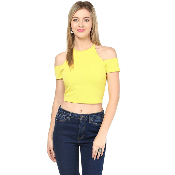 Yellow Color Exotic Knit Fabric Cold Shoulder Crop Top For Girls Ladyindia100