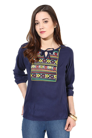 Designer Hand Embriodered Top Blue Colored Rayon Top For Girls