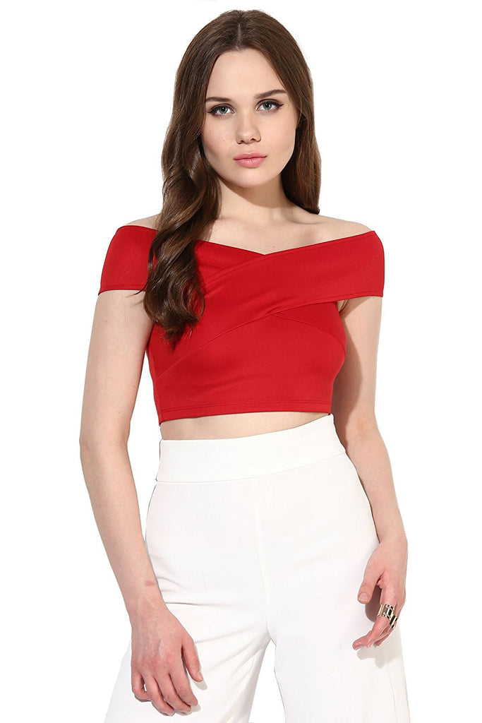 c1825fd6fb0808 Shop Latest Red Bandage Bardot Off-Shoulder Crop Top For Girl – Lady India