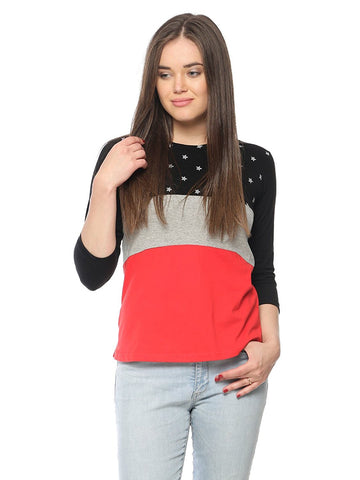 3D Color Combination Designer Top Star Printed Round Neck 3/4 Sleeve Top For Women