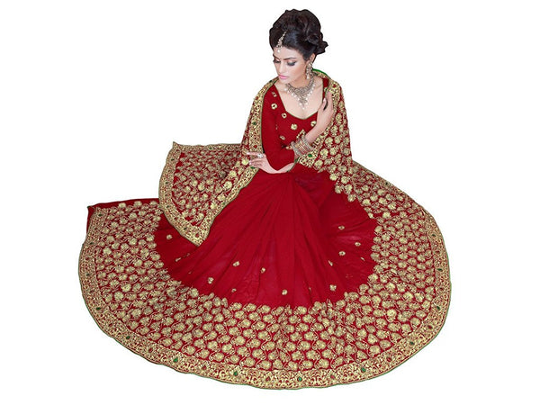 Red Faux Georgette Heavy Hand Work Embroidery Bridal/Wedding Wear Stone Work Saree
