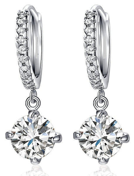Platinum Plated Crystal Clip-On Earrings For Girls