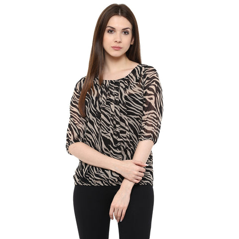 Black Tops For Women Georgette Printed Tops Ladyindia64